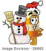 #26683 Clip Art Graphic Of A Construction Road Safety Barrel Cartoon Character With A Snowman On Christmas