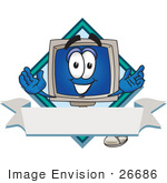#26686 Clip Art Graphic Of A Desktop Computer Cartoon Character Label