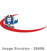 #26688 Clip Art Graphic Of A Desktop Computer Cartoon Character Logo Employee Nametag With A Red Dash