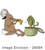 #26694 Man Charming A Cobra Snake Clipart