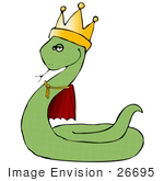 #26695 Snake King In A Crown Clipart