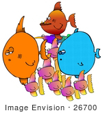 #26700 School Of Fish Swimming Clipart
