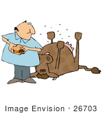 #26703 Hungry Man Eating A Cheeseburger And Realizing That Its Made Of Dead Cow Clipart