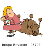 #26705 Hungry Woman Eating A Cheeseburger And Realizing That Its Made Of Dead Cow Clipart