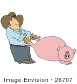 #26707 Mean Farmer Pulling a Pig's Legs Clipart by DJArt
