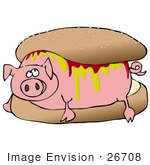 #26708 Piggy Covered In Mustard And Ketchup Resting Inside A Hamburger Bun Clipart