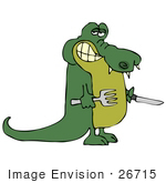 #26715 Hungry Green Gater Holding A Fork And Knife Clipart