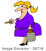 #26716 Woman Carrying a Bag of Oranges and Using a Key to Enter Her Home Clipart by DJArt