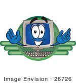 #26726 Clip Art Graphic Of A Desktop Computer Cartoon Character Logo