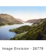 #26778 Stock Photography Of A Deserted Waterfront Road Winding Around The Banks Of The Thirlmere Reservoir Near Helvellyn Mountain In Lake District Cumbria England Uk