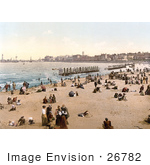 #26782 Stock Photography Of People And Bathing Machines On The Beach In Margate Thanet Kent England Uk