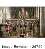 #26790 Stock Photography Of Pews In Front Of The Stunning Hereford Cathedral Choir Screen In Hereford West Midlands England Uk