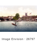#26797 Stock Photography Of Steamboats And Gondoliers Near The Red Lion Hotel In Henley On Thames On The Banks Of The Thames River In London England Uk