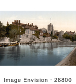 #26800 Stock Photography Of The Church College And Archbishops Palace On The River Medway In Maidstone Kent England Uk