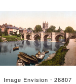 #26807 Stock Photography Of Boats Near The Medieval Bridge On The River Wye Waterfront Buildings And The Hereford Cathedral In Hereford West Midlands England Uk