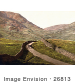 #26813 Stock Photography Of A Man Travelling In A Single Horse Drawn Carriage Along A Road Lined With Stone Walls At Kirkstone Pass Lake District Ambleside Cumbria England Uk