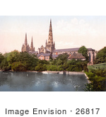 #26817 Stock Photography Of A Pond And Garden On The South Side Of The Lichfield Cathedral In Lichfield Staffordshire England Uk