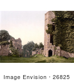 #26825 Stock Photography Of Overgrown Ivy On The Ruins Of The Octagonal Tower At Goodrich Castle In Goodrich Herefordshire England