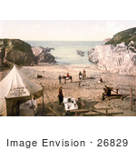 #26829 Stock Photography Of People At S Parker'S Tea & Luncheon Tent On Barricane Shell Beach In Morthoe Devon England