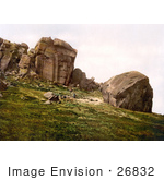 #26832 Stock Photography Of A Man Looking Down From The Cliff Over Two People At Cow And Calf Rocks In Ilkley West Yorkshire England Uk