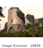 #26838 Stock Photography Of Overgrown Ivy On The Ruins Of Round Tower At Goodrich Castle In Goodrich Herefordshire England