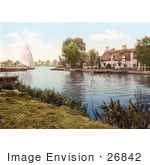 #26842 Stock Photography Of A Sailboat Near A Carriage On A Ferry Crossing The River Bure In Horning Norfolk England