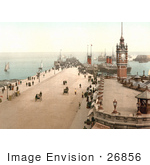 #26856 Stock Photography Of Steamers And Sailboats In The Harbor And People Near The Clock Tower On Victoria Pier Douglas Isle Of Man England