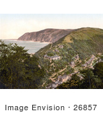#26857 Stock Photography Of An Overhead View Of The Village Of Lynmouth As Seen From Lynton On The Coast In Devon England Uk
