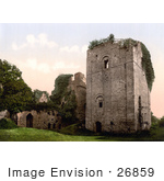 #26859 Stock Photography Of Ivy Growing On The Ruins Of The Norman Styled Keep Of Goodrich Castle At Dusk In Goodrich Herefordshire England