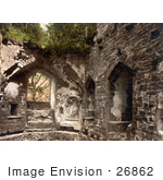 #26862 Stock Photography Of Overgrown Ivy On The Ruins Of The Chapel At Goodrich Castle In Goodrich Herefordshire England