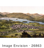 #26863 Stock Photography Of The Village Of Keswick Near The Lake Of Derwentwater And Mountains Lake District Allerdale Cumbria England Uk