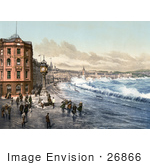 #26866 Stock Photography Of Storm Waves Washing Up On The Train Tracks Jubilee Clock And Promenade By Waterfront Buildings In Douglas Doolish Isle Of Man England