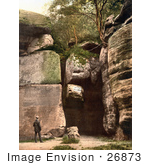 #26873 Stock Photography Of A Man Reading The Carved Text On The High Rocks In Tunbridge Wells Kent England Uk