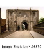 #26875 Stock Photography Of Two Men With A Bicycle In Front Of The Bayle Gate In Bridlington Yorkshire England Uk