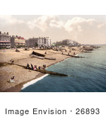 #26893 Stock Photography Of People Boats And Bathing Machine Carts On The Beach In Worthing West Sussex England Uk