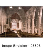 #26896 Stock Photography Of Pews And The Stained Glass Windows In The Interior Of The St Mary'S Church In Ross-On-Wye Herefordshire England Uk