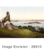 #26910 Stock Photography Of Ivy Covered Ruins Of The Mount Edgcumbe Folly With A View Of Drakes Island As Seen From Mount Edgcumbe Plymouth Devon England Uk