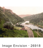 #26918 Stock Photography Of Train Tracks Through Symonds Yat On The River Wye In The Forest Of Dean England