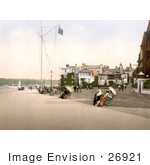 #26921 Stock Photography Of People Sitting On Benches Near The Marine Hotel In Cowes Isle Of Wight England Uk