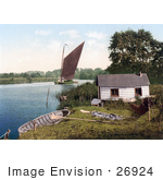 #26924 Stock Photography Of Sailboat On The Bure River Near A Hut In Norfolk England