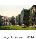 #26944 Stock Photography Of The Courtyard Of The Ivy Covered Ruins Of Raglan Castle In Raglan Monmouthshire Wales England