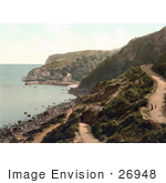 #26948 Stock Photography Of People Walking On A Road Above Babbacombe Beach In Torquay Torbay Devon England Uk