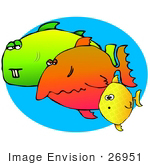 #26951 Three Goofy and Very Different Fish Swimming Together Clipart Graphic by DJArt