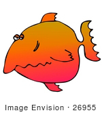 #26955 Grumpy Colorful Fish Clipart Graphic