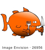 #26956 Starving Fish Prepared To Eat Carrying A Knife And Fork Clipart Graphic