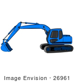 #26961 Blue Trackhoe Tractor Working At A Construction Site Clipart Graphic