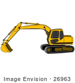 #26963 Yellow Trackhoe Tractor Working At A Construction Site Clipart Graphic