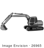 #26965 Grey Trackhoe Tractor Working At A Construction Site Clipart Graphic by DJArt