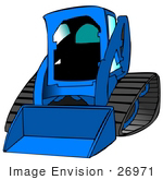 #26971 Blue Bobcat Skid Steer Loader Tractor Working At A Construction Site Clipart Graphic