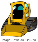 #26973 Yellow Bobcat Skid Steer Loader Tractor Working at a Construction Site Clipart Graphic by DJArt